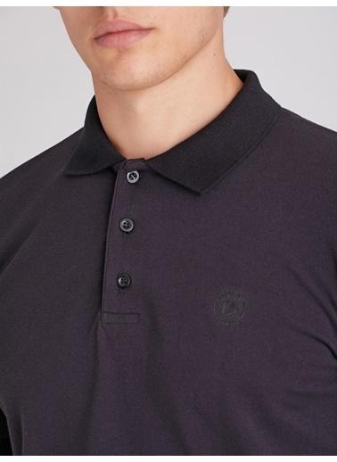 Dufy Sıyah Düz Pamuklu Pıke Erkek T-Shırt - Slım Fıt Siyah